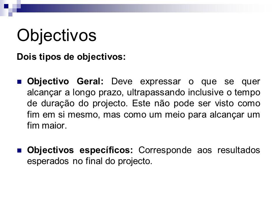 Objectivos Dois tipos de objectivos:
