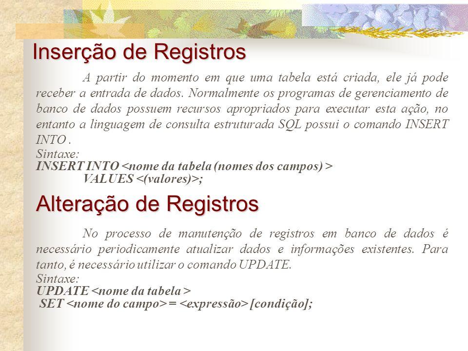 Alteração de Registros
