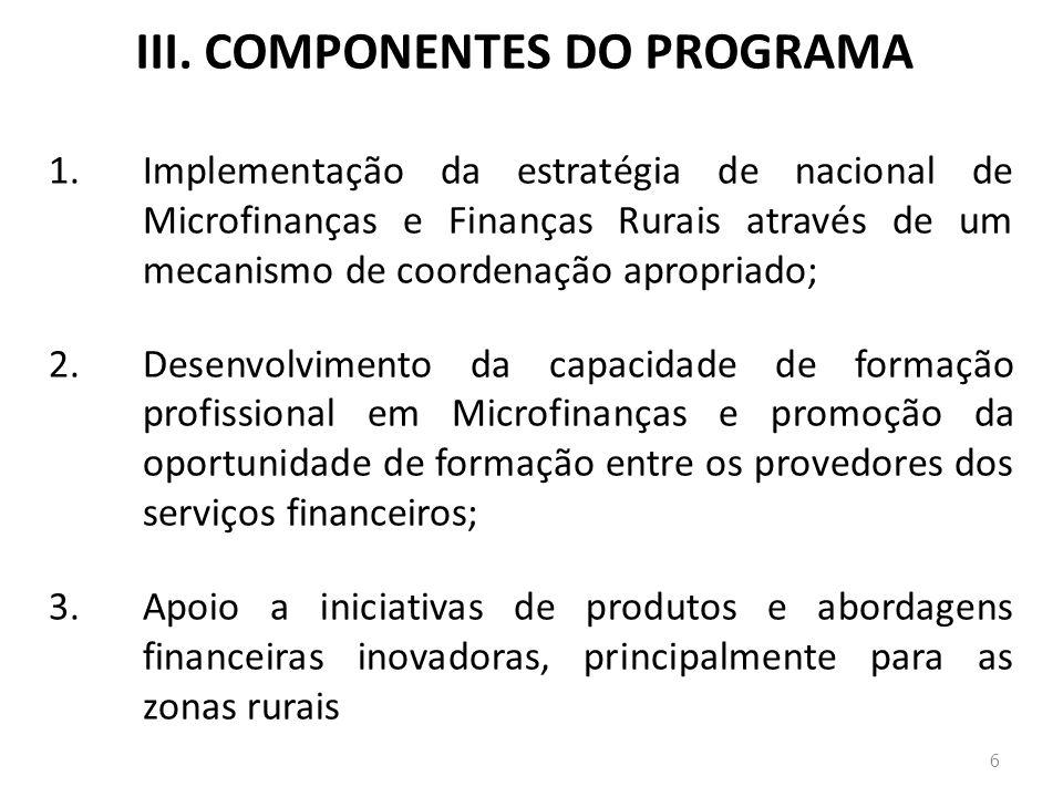 III. COMPONENTES DO PROGRAMA