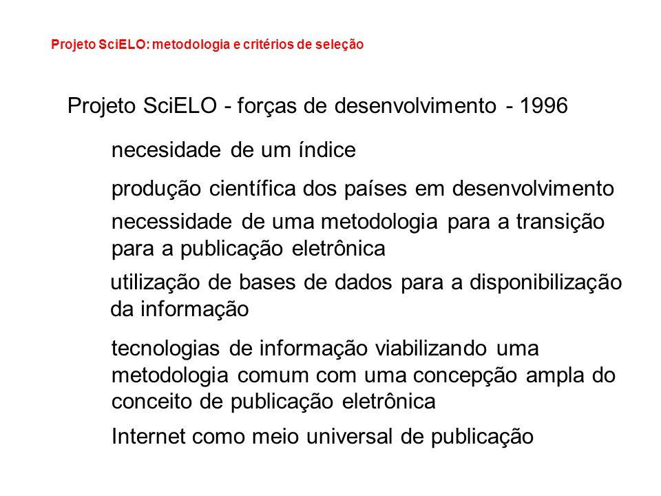 Projeto SciELO - forças de desenvolvimento - 1996