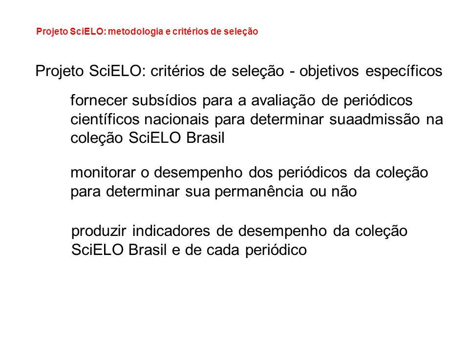 Projeto SciELO: critérios de seleção - objetivos específicos