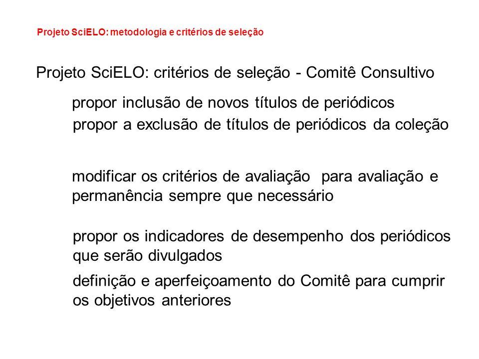 Projeto SciELO: critérios de seleção - Comitê Consultivo