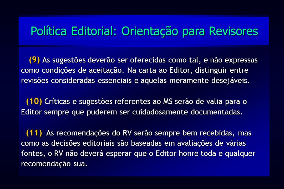 Política Editorial: Orientação para Revisores