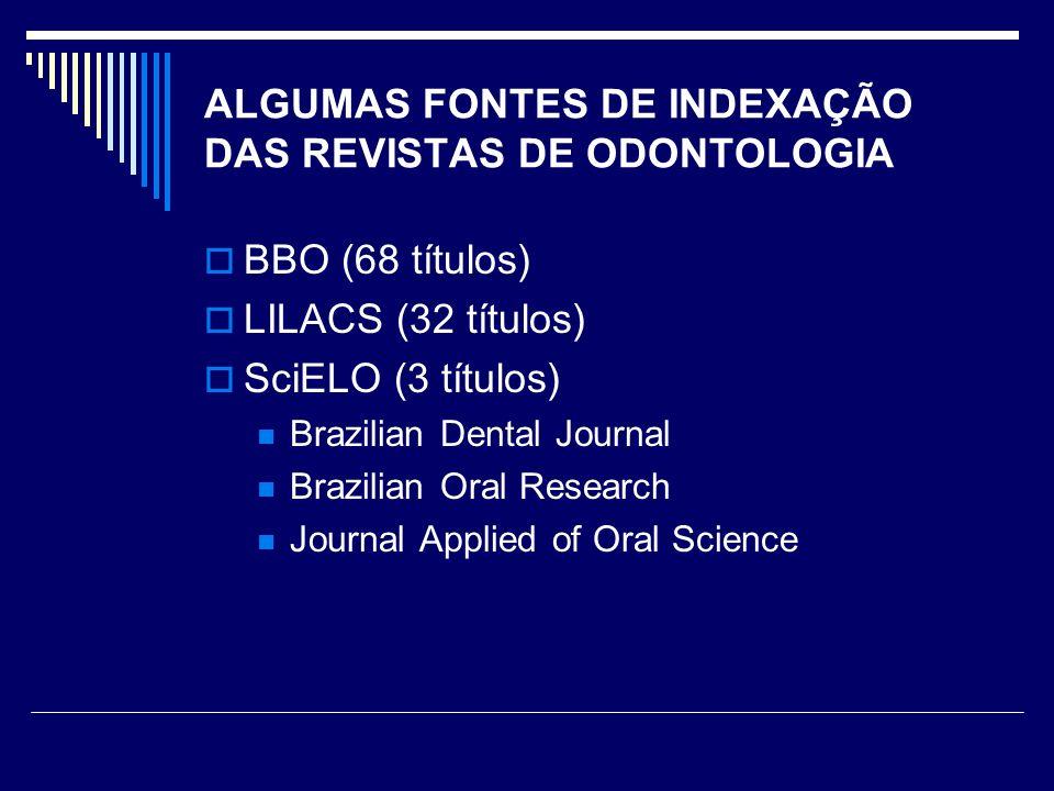 ALGUMAS FONTES DE INDEXAÇÃO DAS REVISTAS DE ODONTOLOGIA