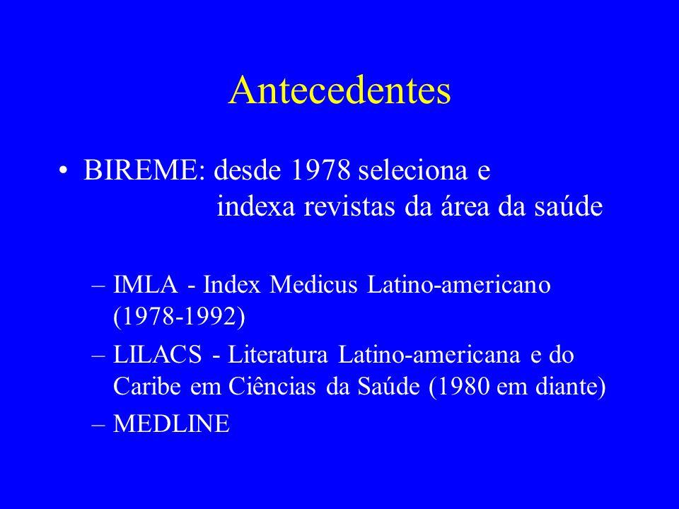 AntecedentesBIREME: desde 1978 seleciona e indexa revistas da área da saúde.