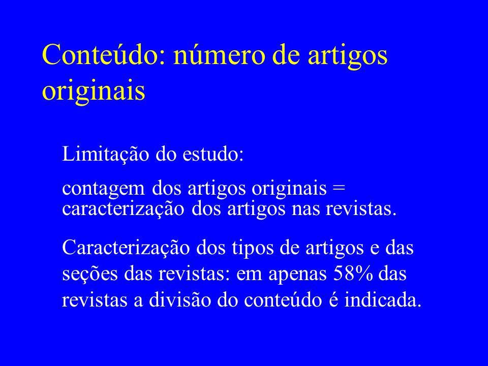 Conteúdo: número de artigos originais