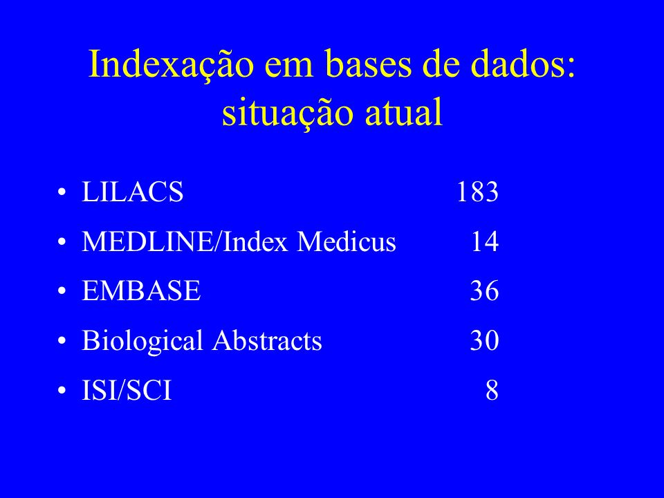 Indexação em bases de dados: situação atual