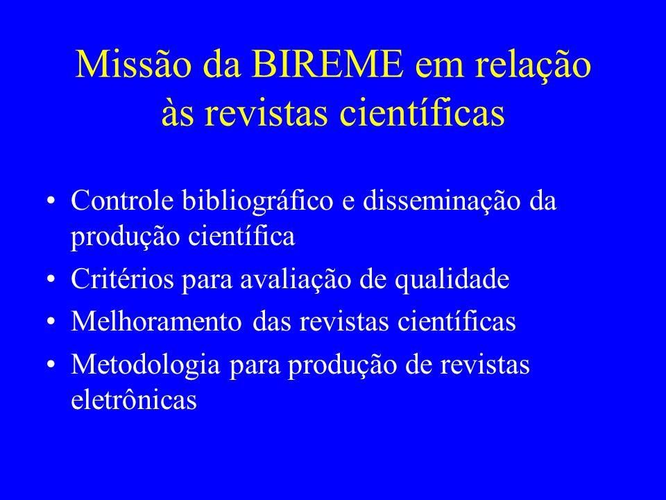 Missão da BIREME em relação às revistas científicas