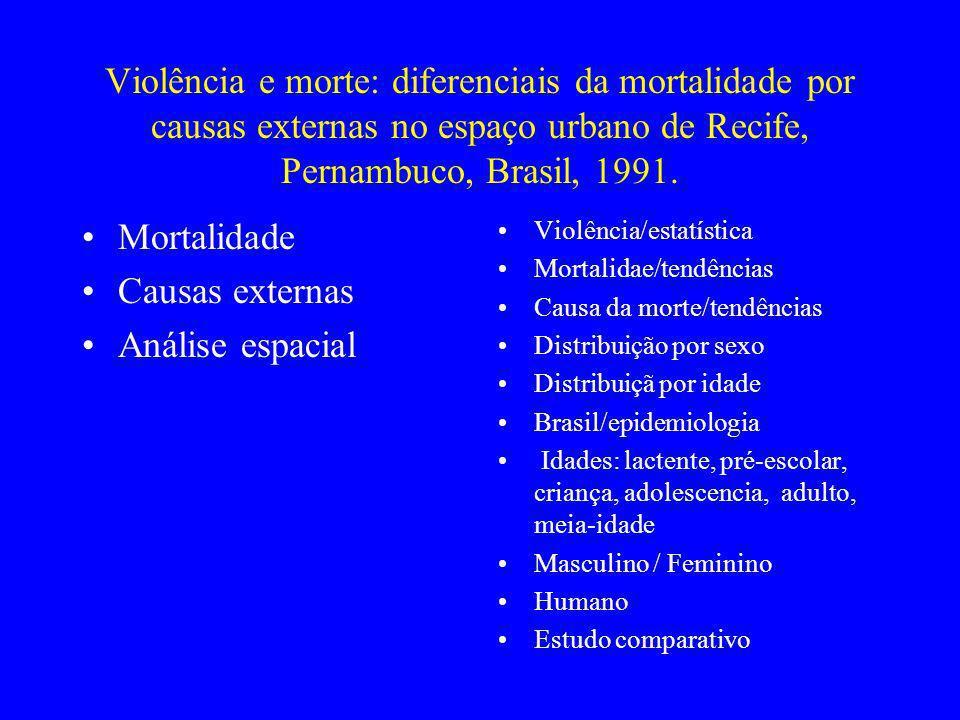 Violência e morte: diferenciais da mortalidade por causas externas no espaço urbano de Recife, Pernambuco, Brasil, 1991.