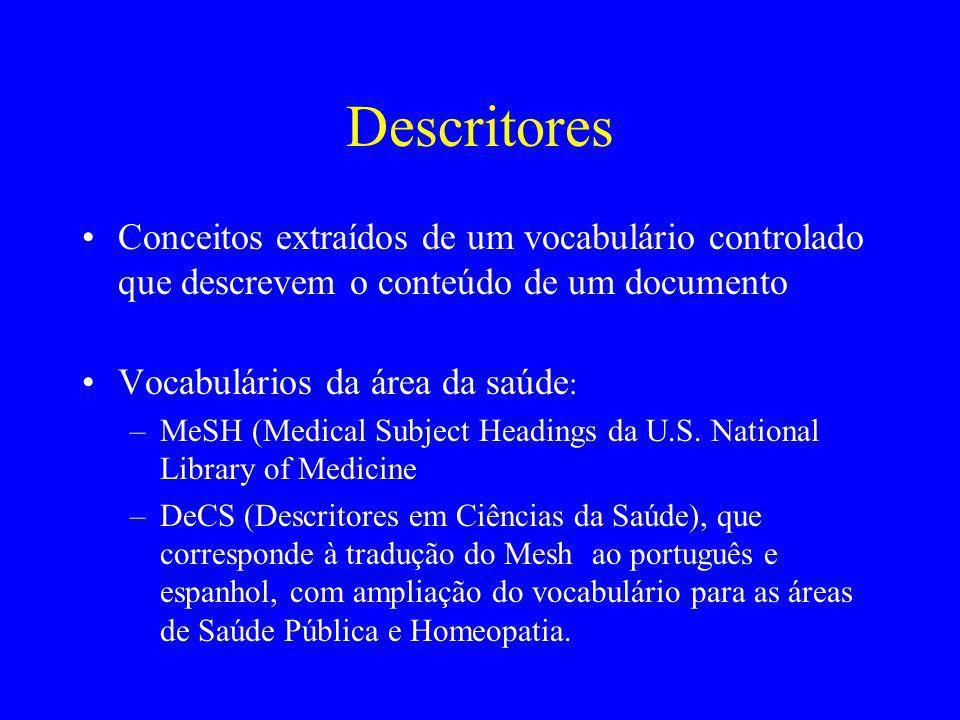 Descritores Conceitos extraídos de um vocabulário controlado que descrevem o conteúdo de um documento.
