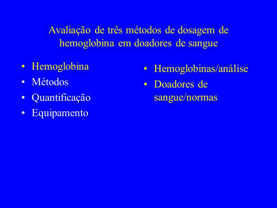 Avaliação de três métodos de dosagem de hemoglobina em doadores de sangue