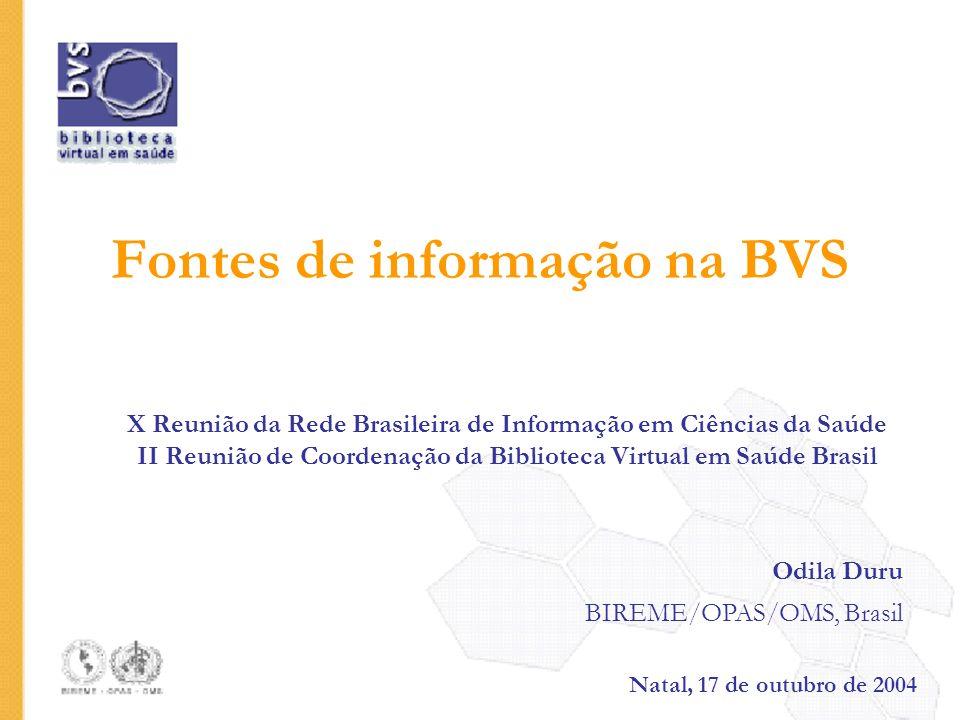 Fontes de informação na BVS