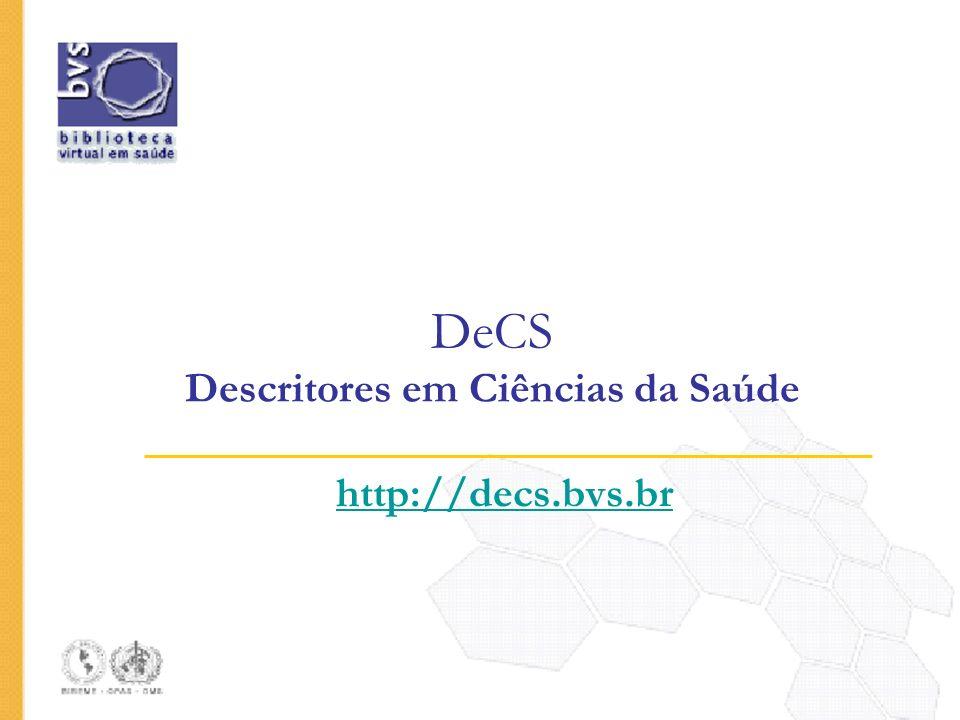 DeCS Descritores em Ciências da Saúde