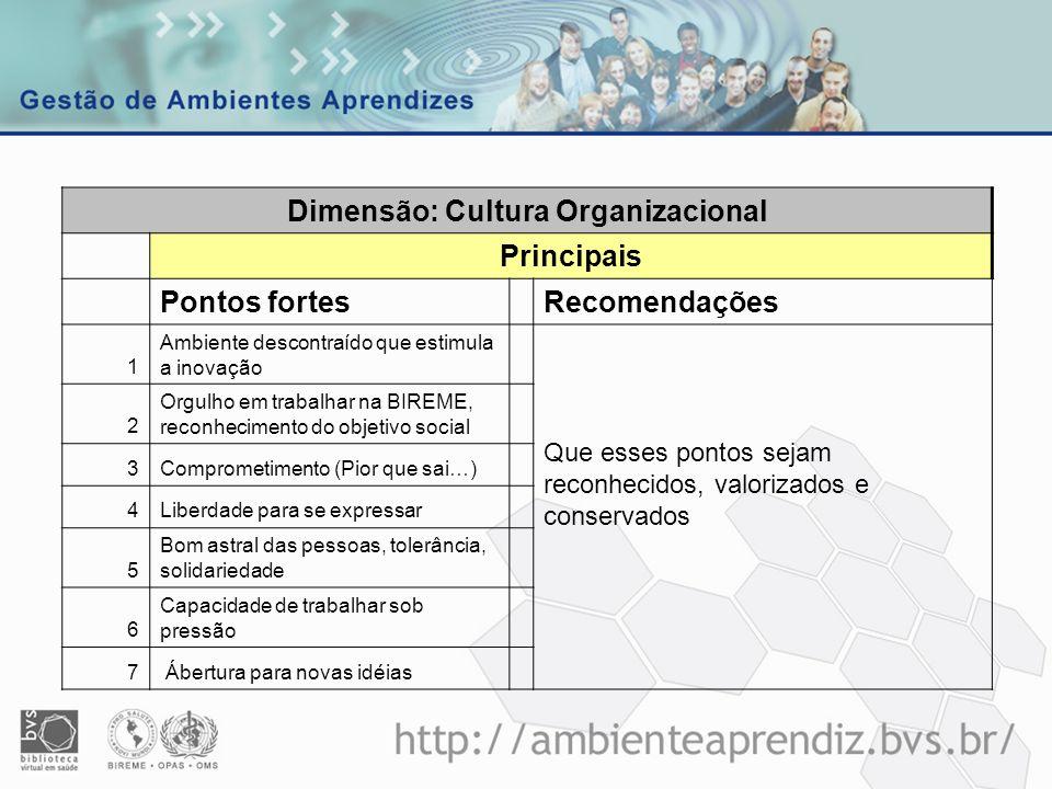 Dimensão: Cultura Organizacional