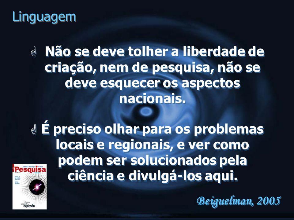Linguagem Não se deve tolher a liberdade de criação, nem de pesquisa, não se deve esquecer os aspectos nacionais.