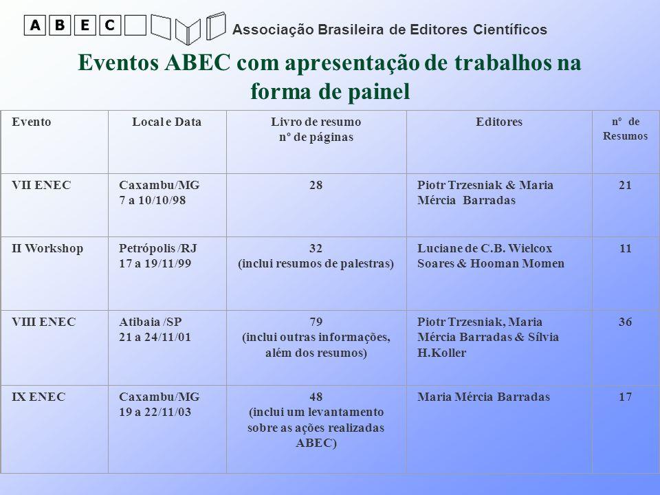 Eventos ABEC com apresentação de trabalhos na forma de painel