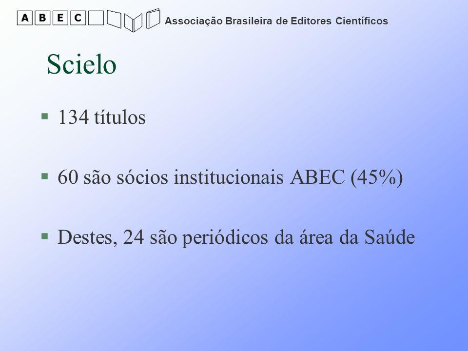 Scielo 134 títulos 60 são sócios institucionais ABEC (45%)