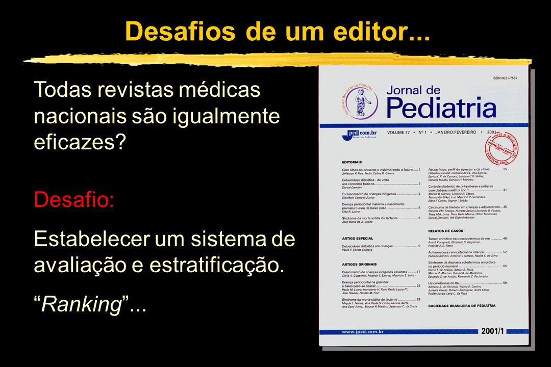 Desafios de um editor... Todas revistas médicas nacionais são igualmente eficazes Desafio: Estabelecer um sistema de avaliação e estratificação.