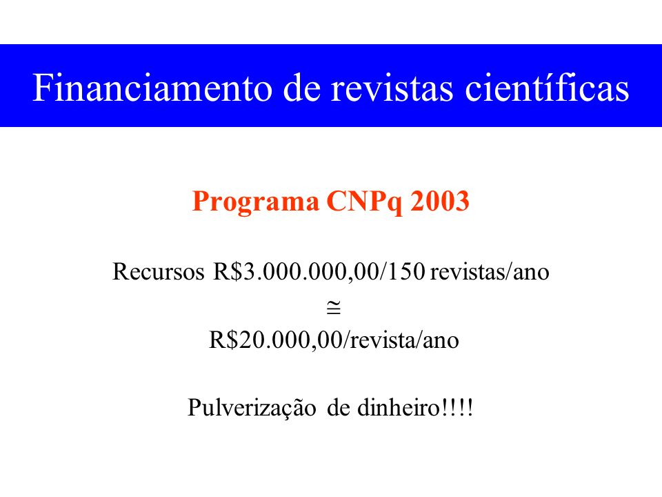 Financiamento de revistas científicas