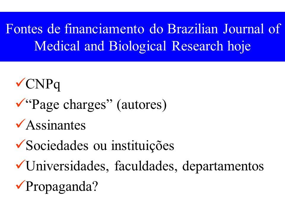 Fontes de financiamento do Brazilian Journal of Medical and Biological Research hoje