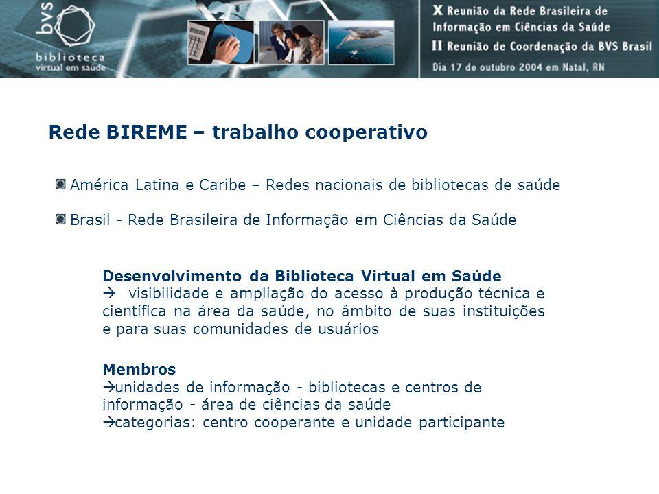 Rede BIREME – trabalho cooperativo