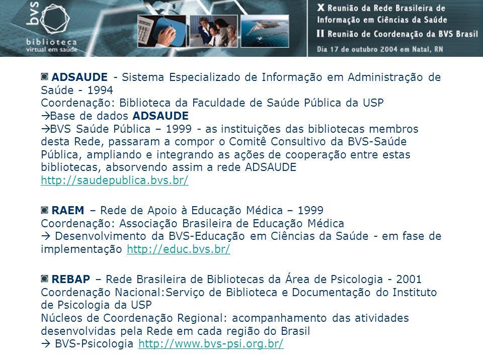 ADSAUDE - Sistema Especializado de Informação em Administração de Saúde - 1994