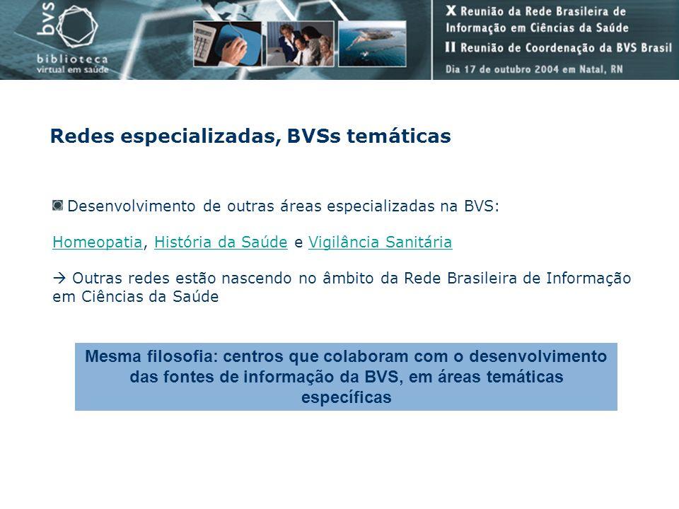 Redes especializadas, BVSs temáticas