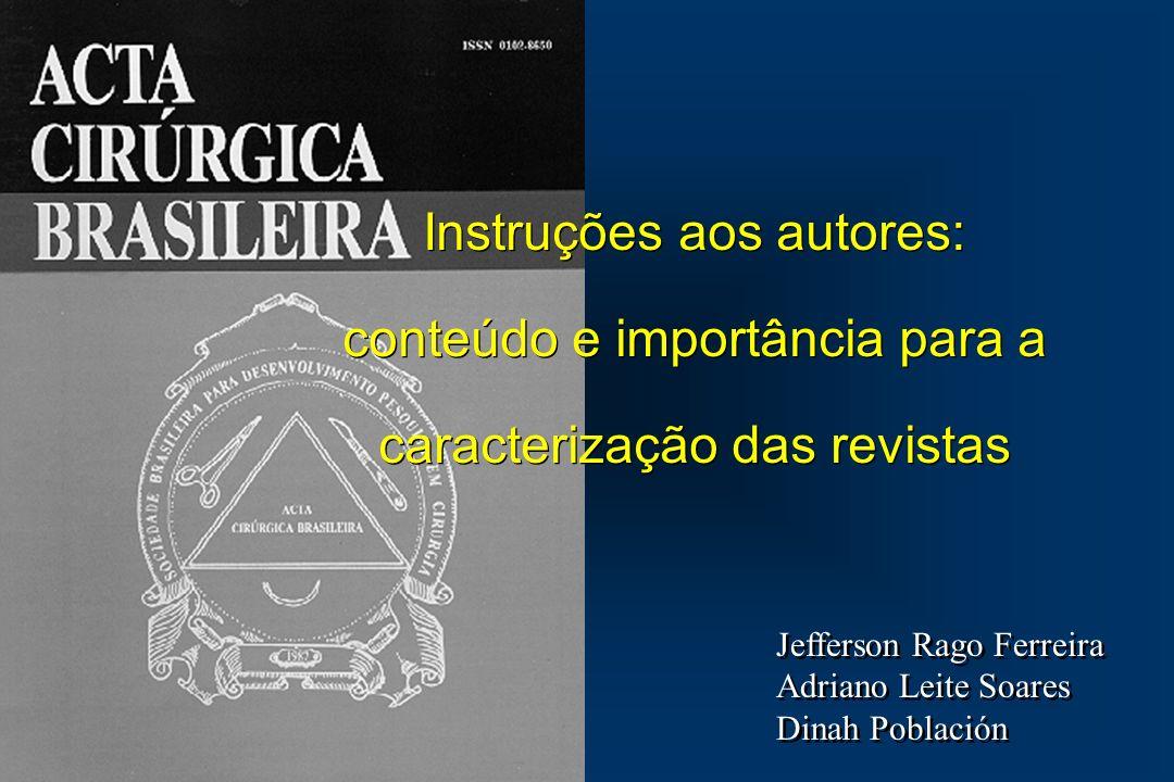 Instruções aos autores: conteúdo e importância para a