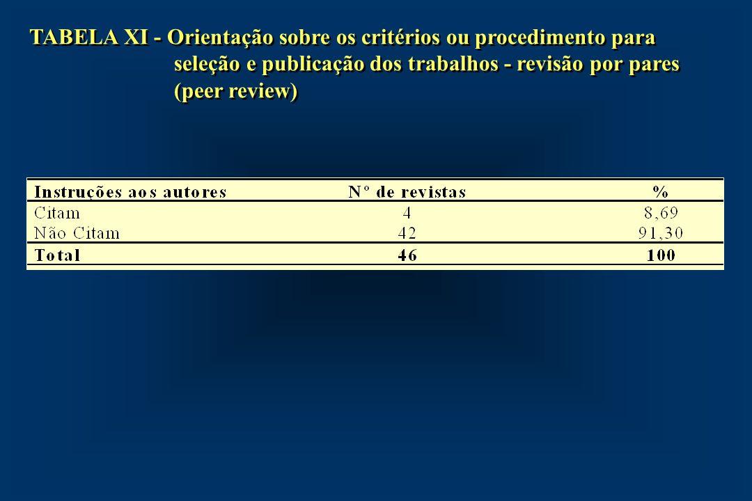TABELA XI - Orientação sobre os critérios ou procedimento para