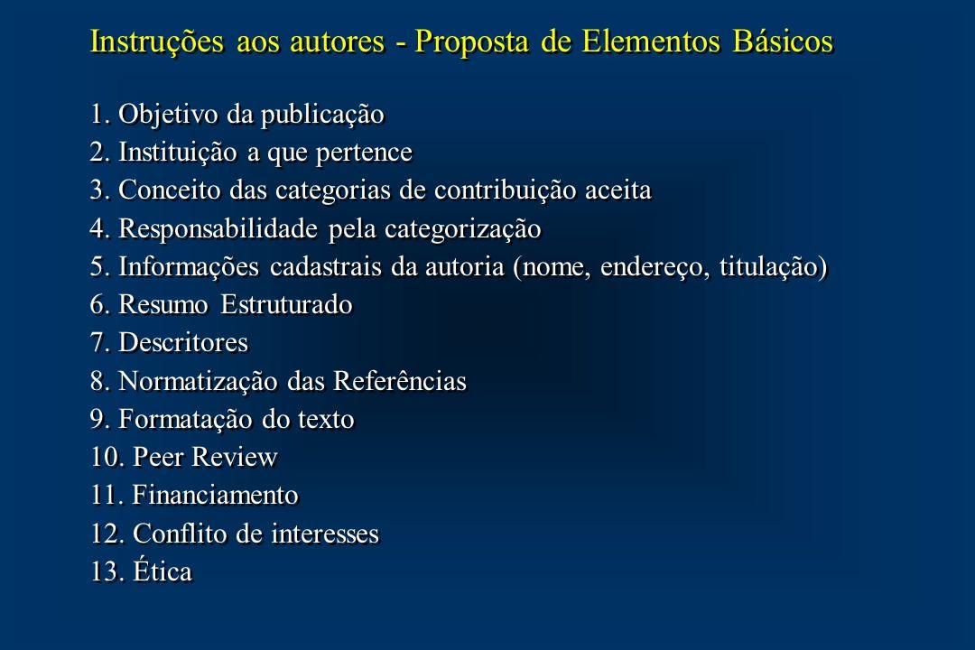 Instruções aos autores - Proposta de Elementos Básicos