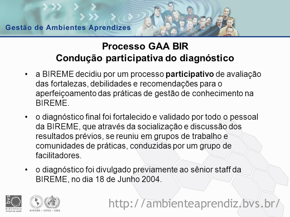 Processo GAA BIR Condução participativa do diagnóstico