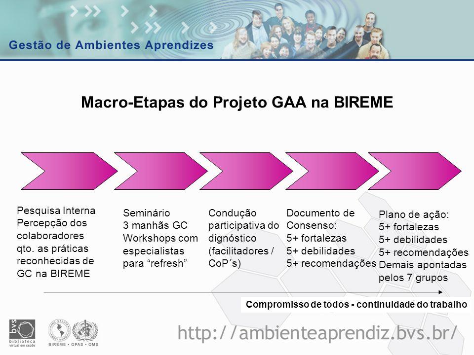 Macro-Etapas do Projeto GAA na BIREME