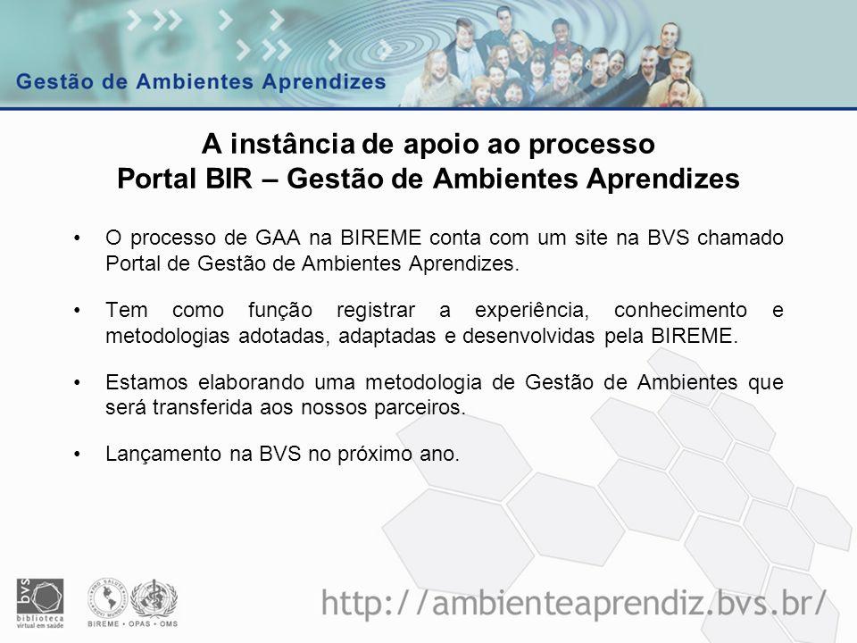 A instância de apoio ao processo Portal BIR – Gestão de Ambientes Aprendizes