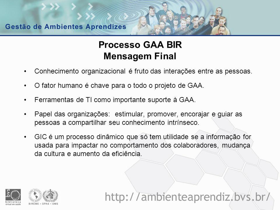 Processo GAA BIR Mensagem Final