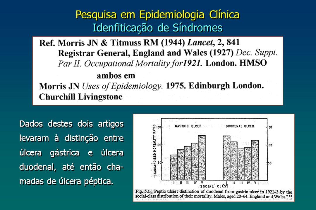 Pesquisa em Epidemiologia Clínica Idenfiticação de Síndromes