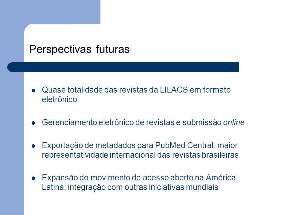 Perspectivas futuras Quase totalidade das revistas da LILACS em formato eletrônico. Gerenciamento eletrônico de revistas e submissão online.