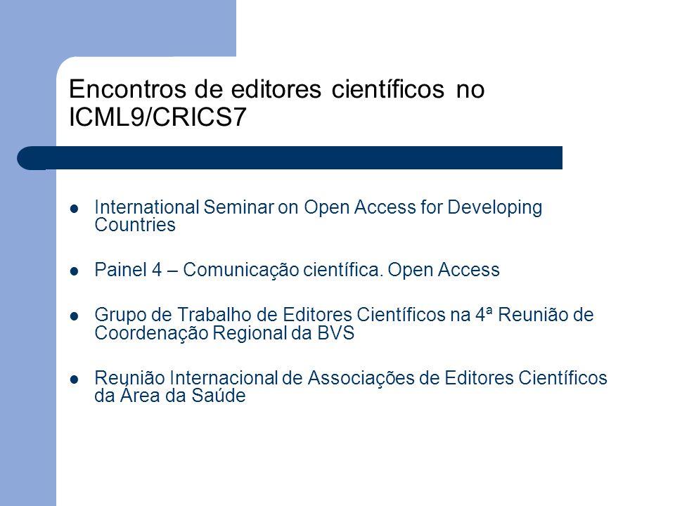 Encontros de editores científicos no ICML9/CRICS7