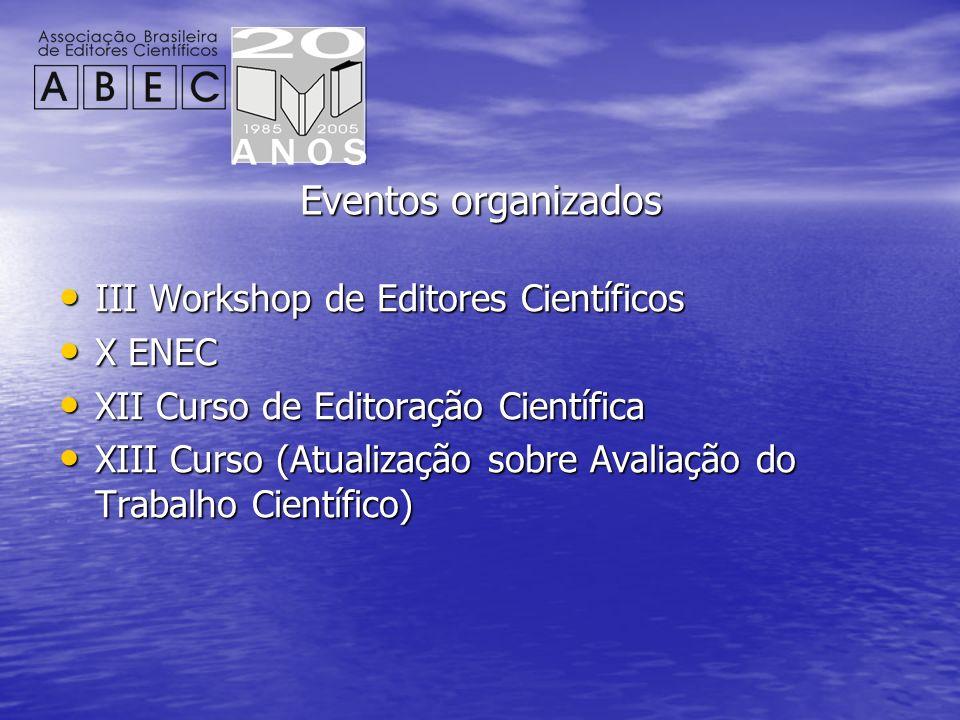 Eventos organizados III Workshop de Editores Científicos X ENEC