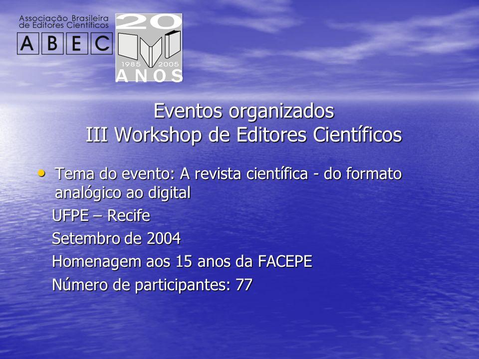 Eventos organizados III Workshop de Editores Científicos