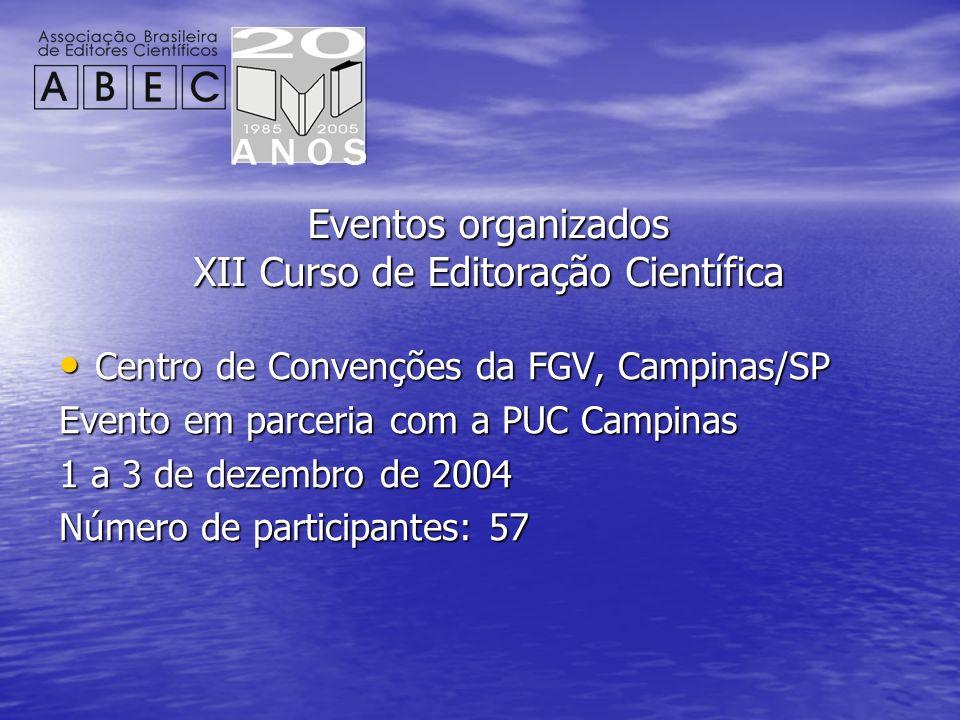 Eventos organizados XII Curso de Editoração Científica