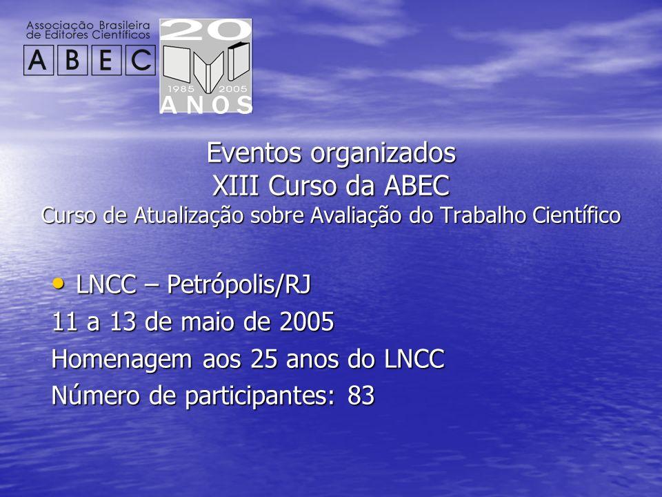 Eventos organizados XIII Curso da ABEC Curso de Atualização sobre Avaliação do Trabalho Científico