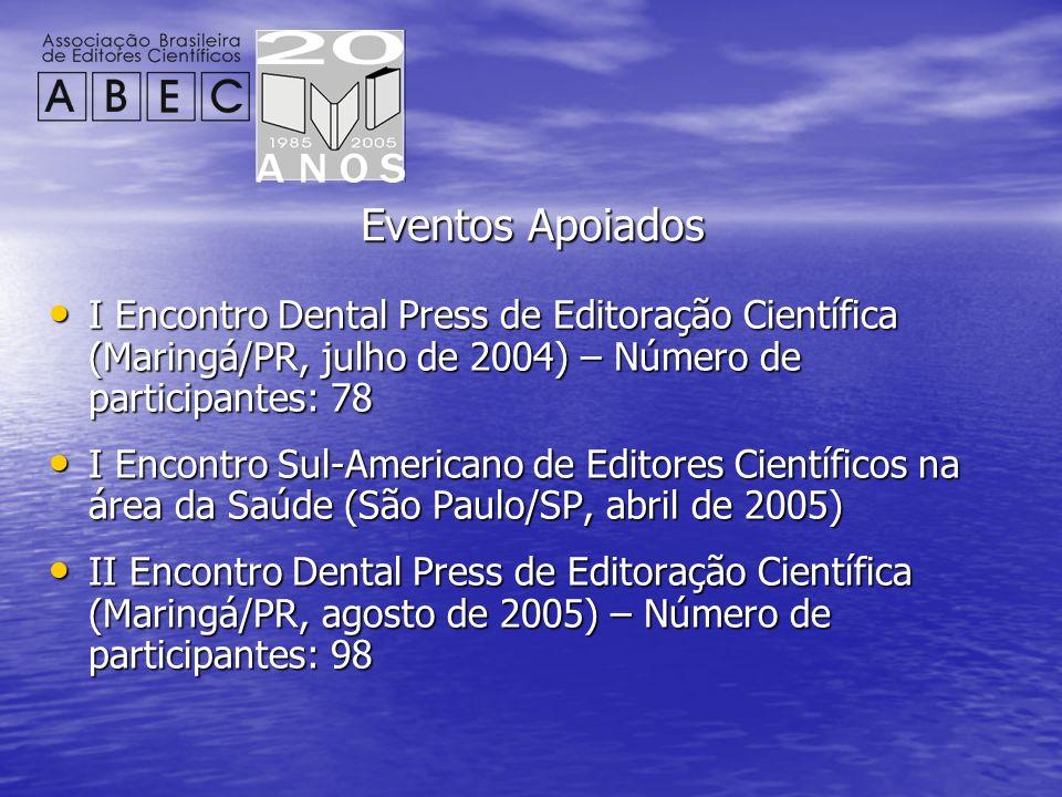 Eventos Apoiados I Encontro Dental Press de Editoração Científica (Maringá/PR, julho de 2004) – Número de participantes: 78.