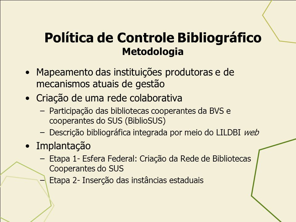 Política de Controle Bibliográfico