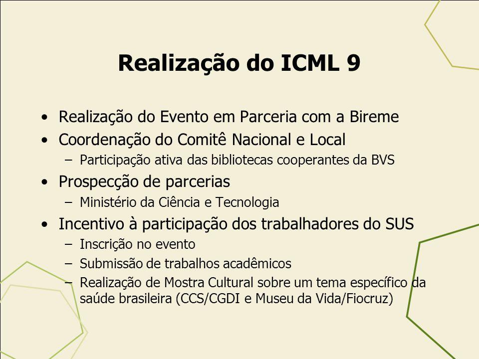Realização do ICML 9 Realização do Evento em Parceria com a Bireme