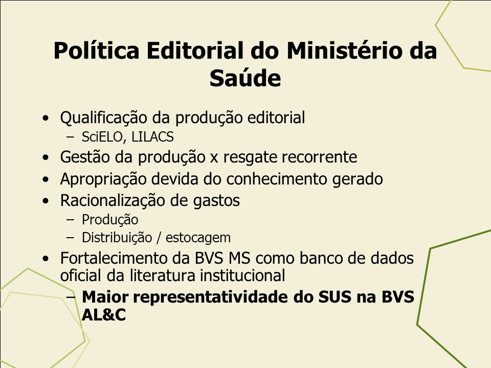 Política Editorial do Ministério da Saúde