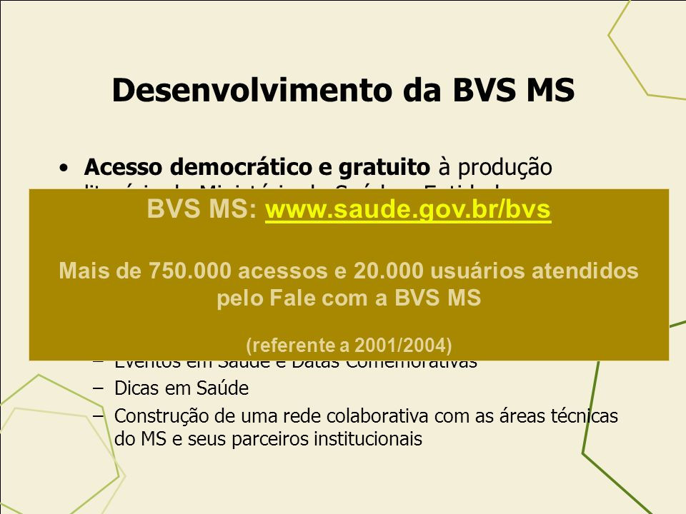 Desenvolvimento da BVS MS