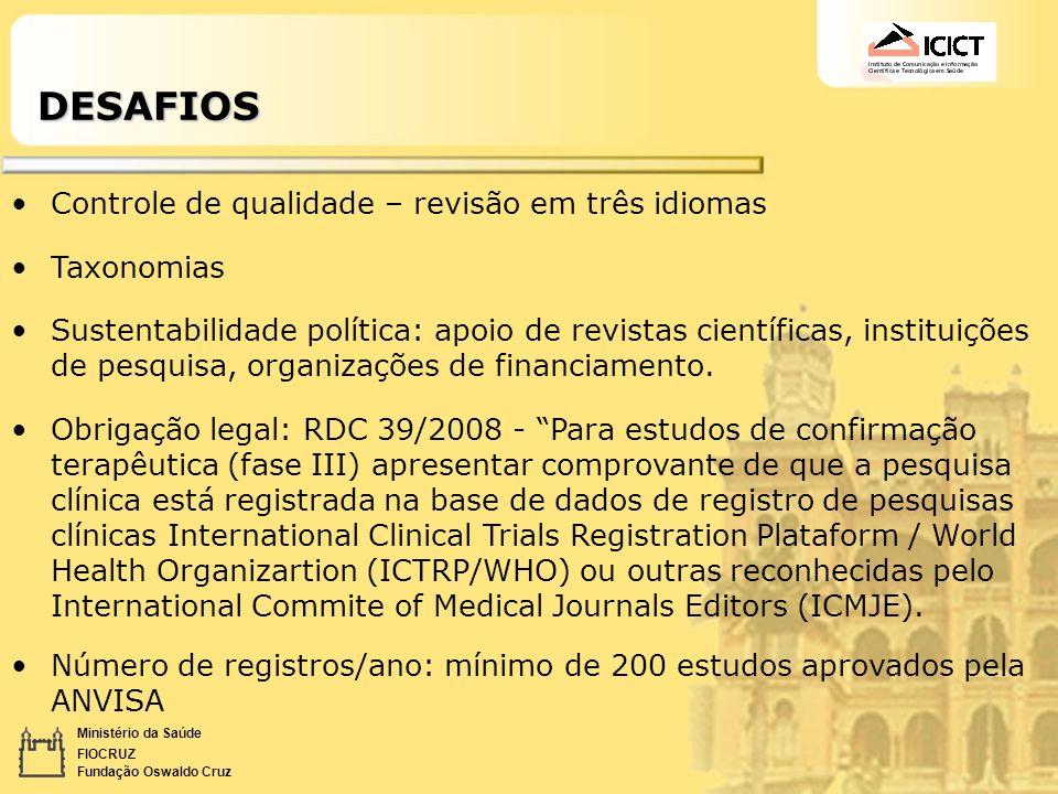 DESAFIOS Controle de qualidade – revisão em três idiomas Taxonomias