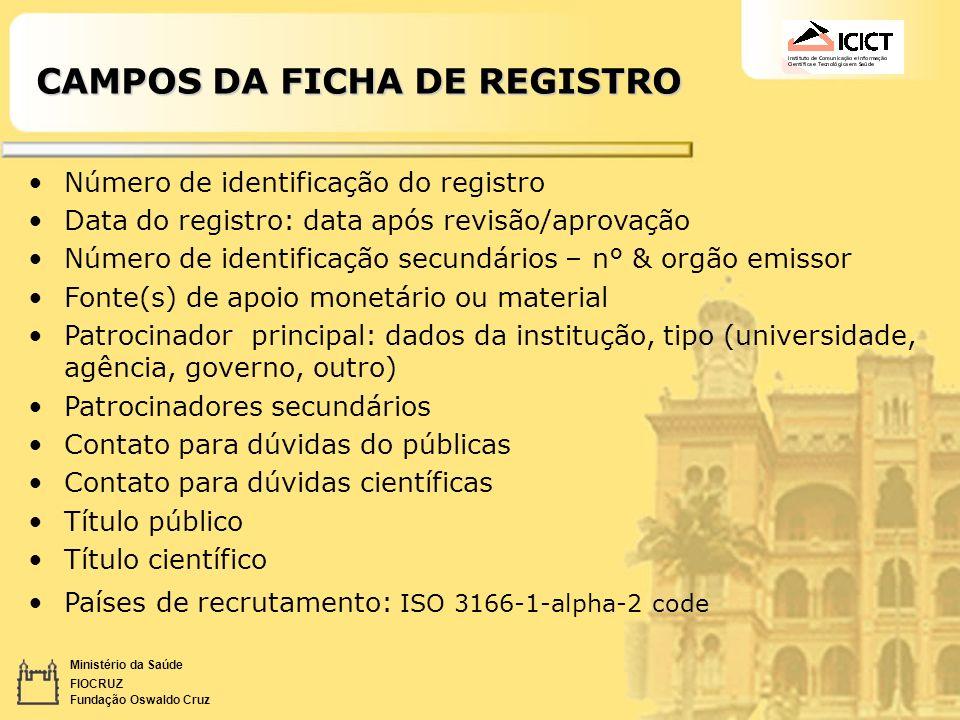 CAMPOS DA FICHA DE REGISTRO