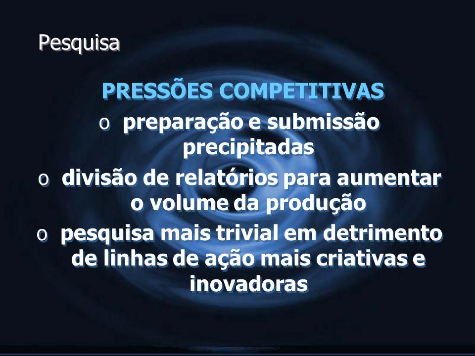 PRESSÕES COMPETITIVAS preparação e submissão precipitadas