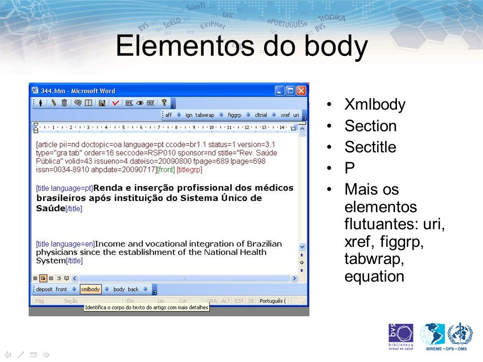 Elementos do body Xmlbody Section Sectitle P
